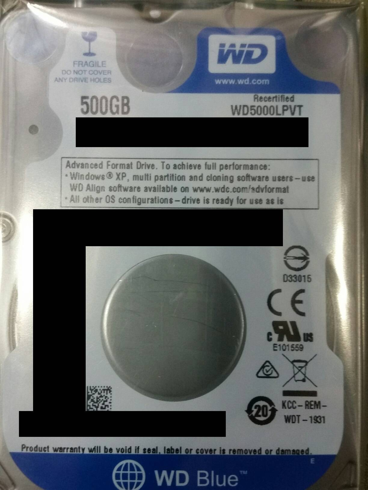 WD5000LPVT 500GB HD FR