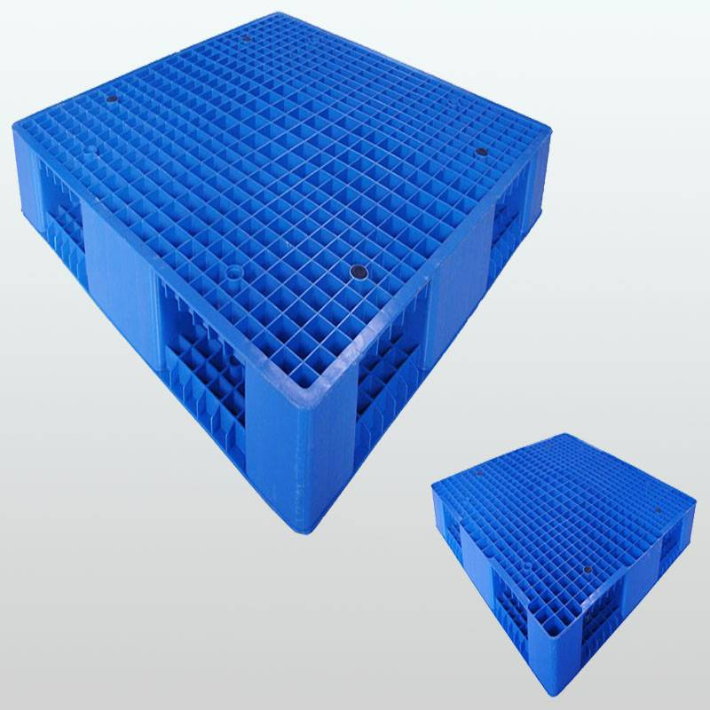 plastic pallet with double-faced. grid. stackable.1100*1100*150