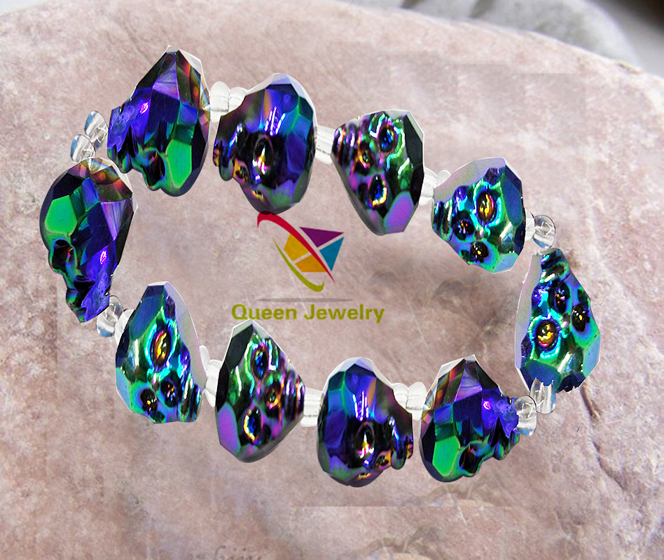 Latest style skull bracelet new trend wholesale lilac color crystal jewelry supplier