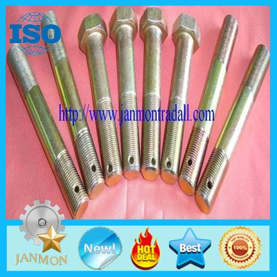 Customized Special Hex Head Bolt With Hole(as drawing),Double End Stud with hole in end