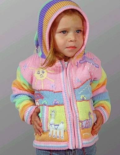 Child wool sweater with arpillera
