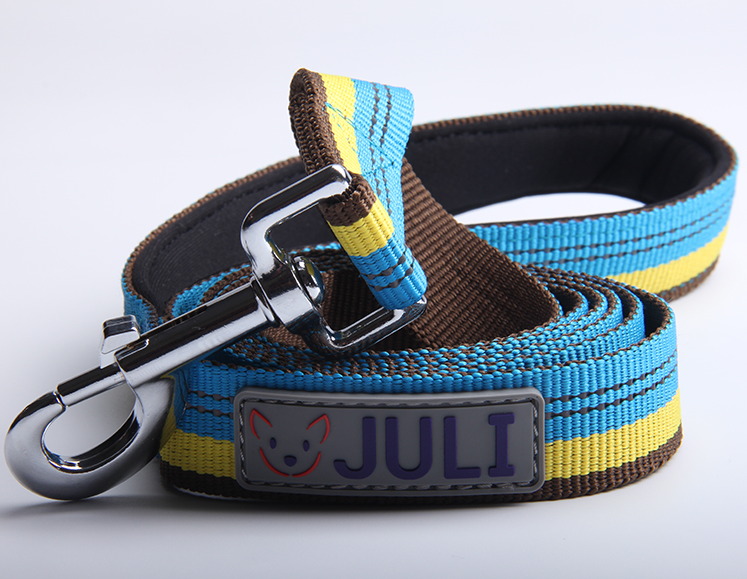 Pet dog leash with thickened handle with reflective stripe