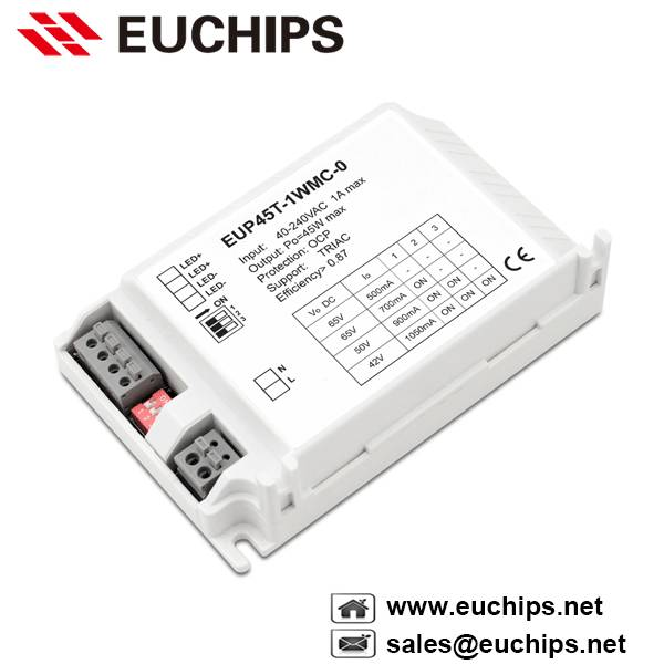 500/700/900/1050mA 45W 1 channel triac constant current led dimmable driver EUP45T-1WMC-0