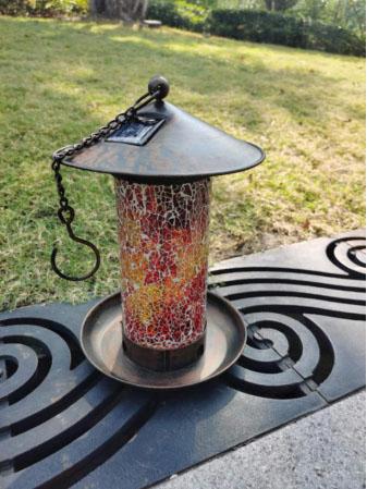 Solar Hanging Metal Bird feeder with Mosaic glass