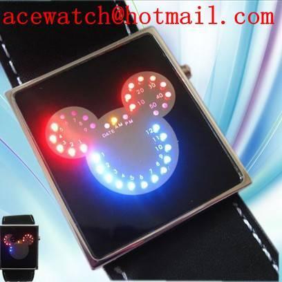 LED Mickey Mouse watch Men Lady wrist watch