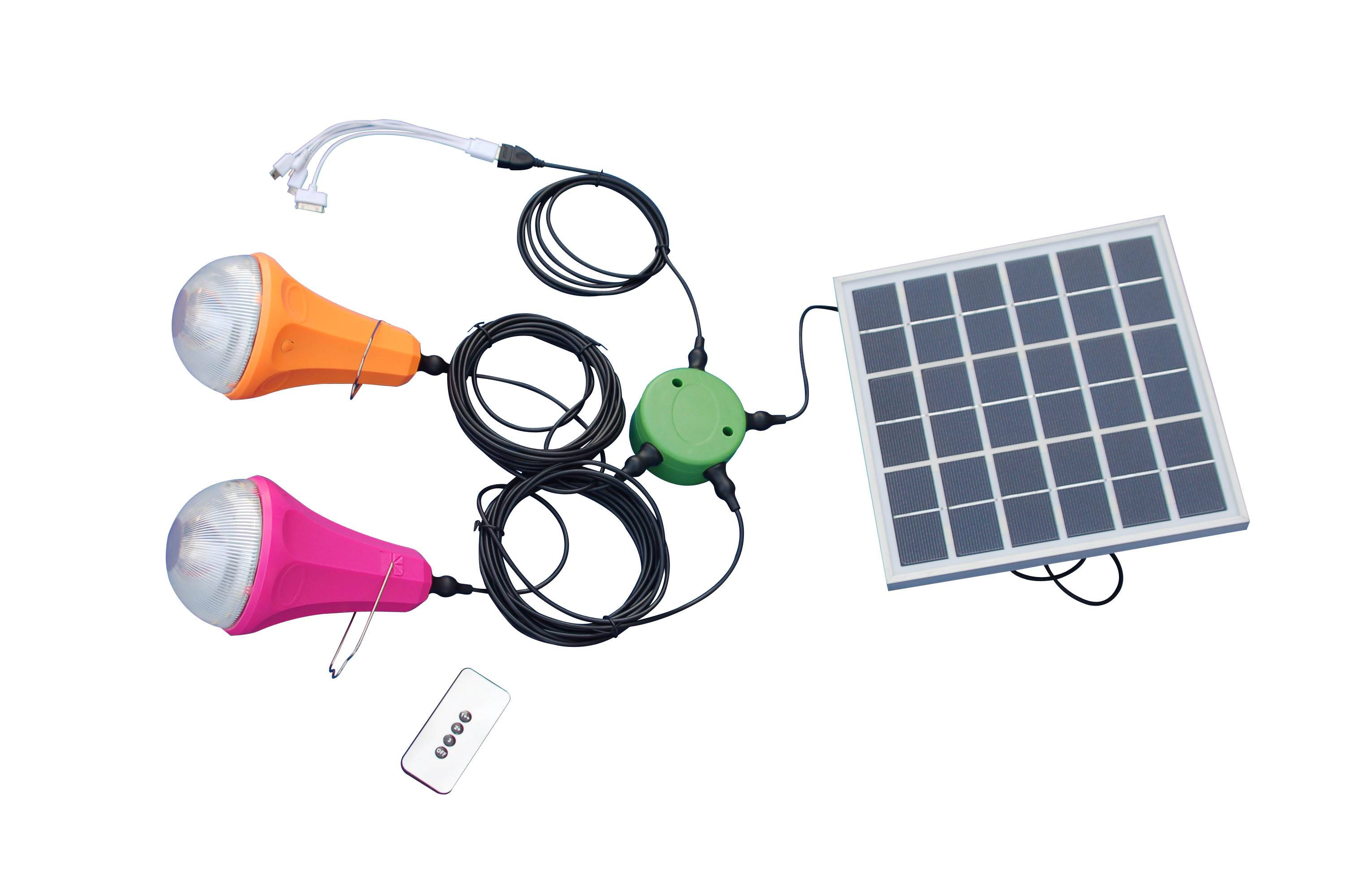 Portable solar home LED light with phone charger, solar lamp for home use