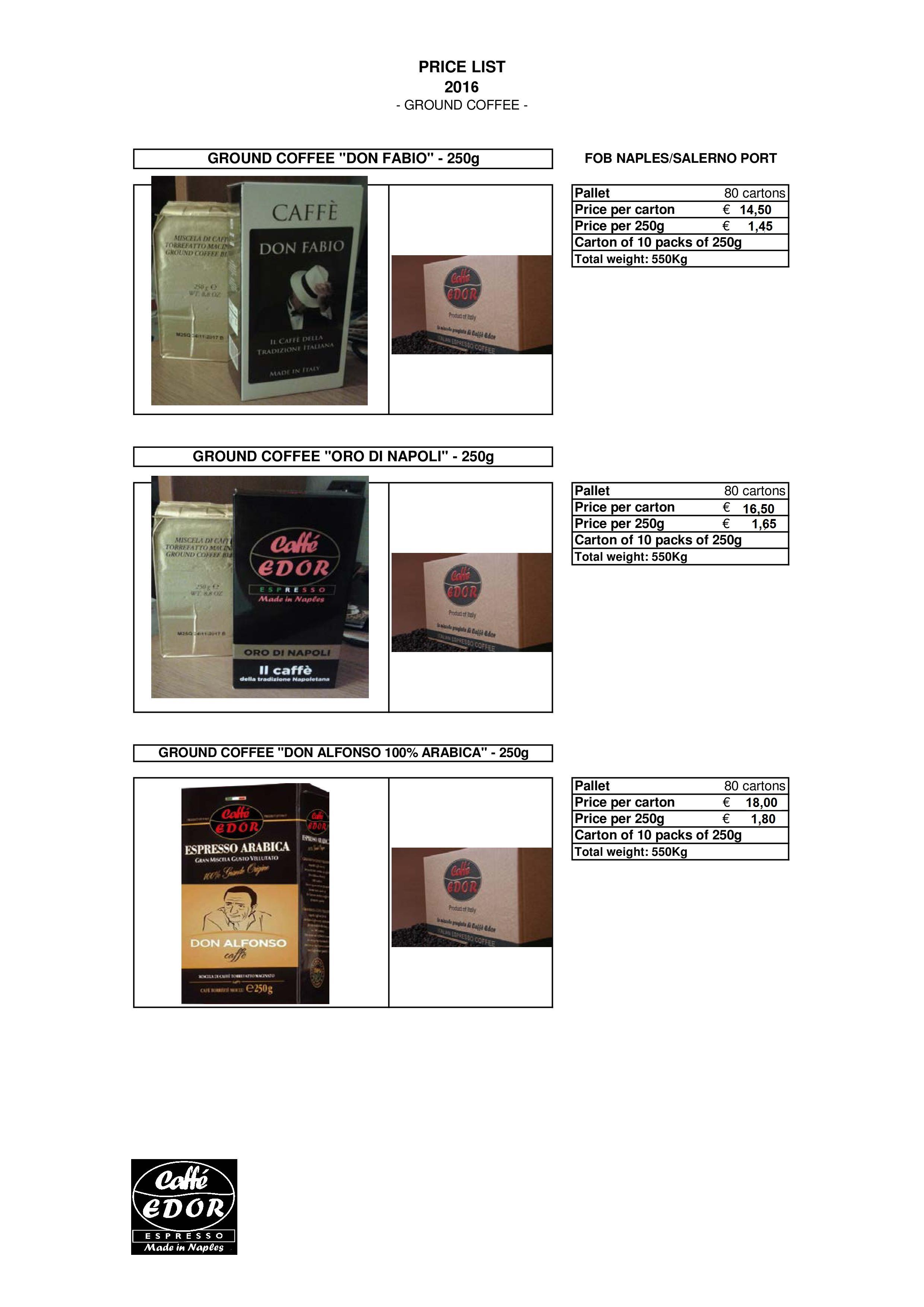Italian coffee brand EDOR 250g