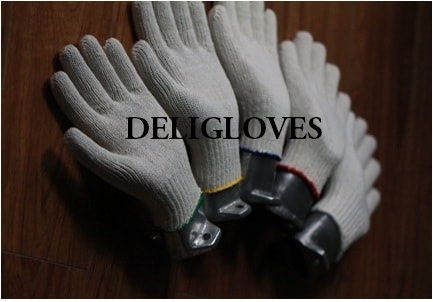 white safety cotton knitted gloves