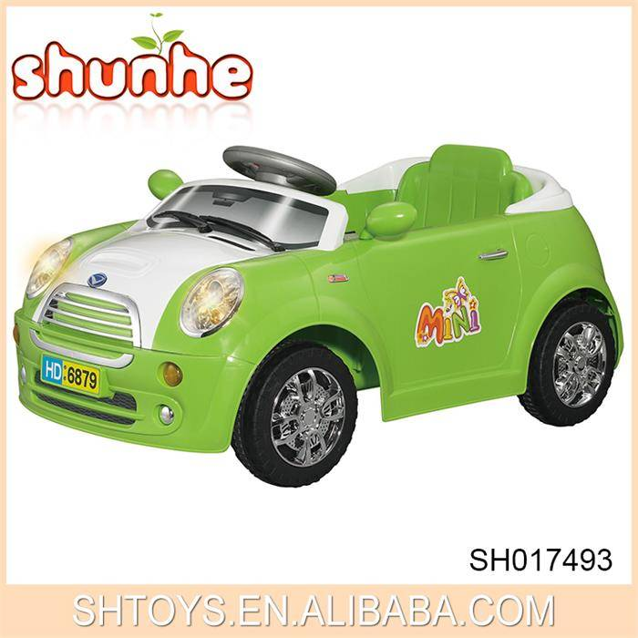 R/C mini electric children ride on car with light green blue and white color