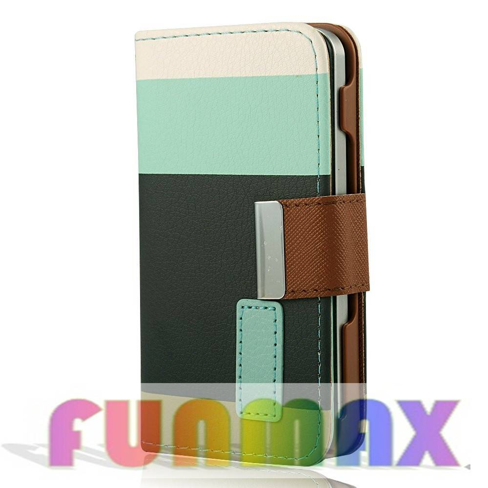 Iphone Colorful Flip Leather Protective Phone Case Cover with Stand Function and Card Slots