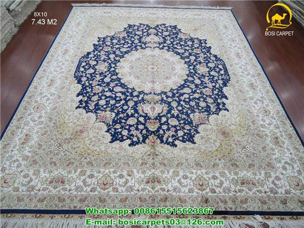 230lines Pure silk 100% handmade rug blue color chinese carved silk rugs