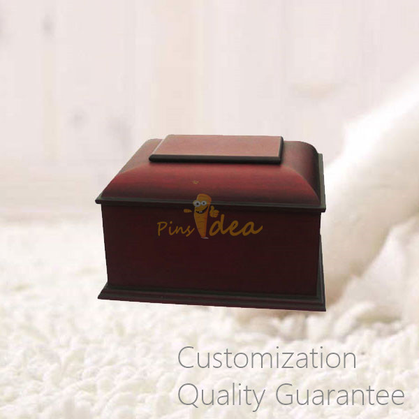Two-tones Matte Cherry Traditional Pet Funeral Supplies Wooden Pet Cremation Ashes Holder Urn Box