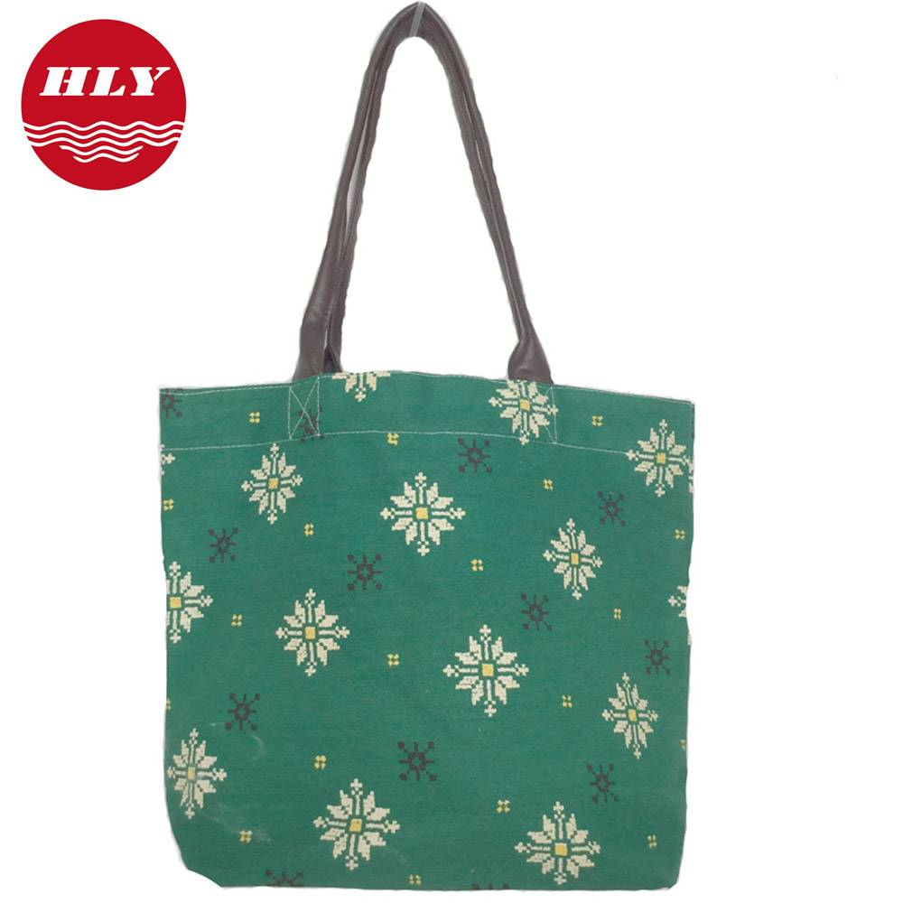 Canvas Fashion Bags Ladies Handbags with Leather Handle