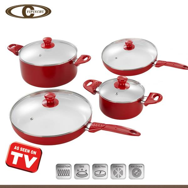aluminum non-stick cookwre set with induction base