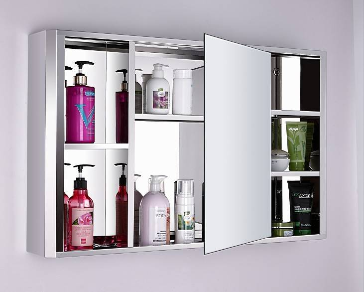 Modern fashional wall mounted stainless steel bathroom mirror cabinet