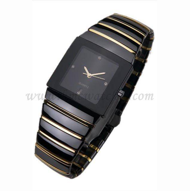 Quartz Type and Gold Plated Wrist Watches, High Quality Black Ceramic Band Wrist Watch