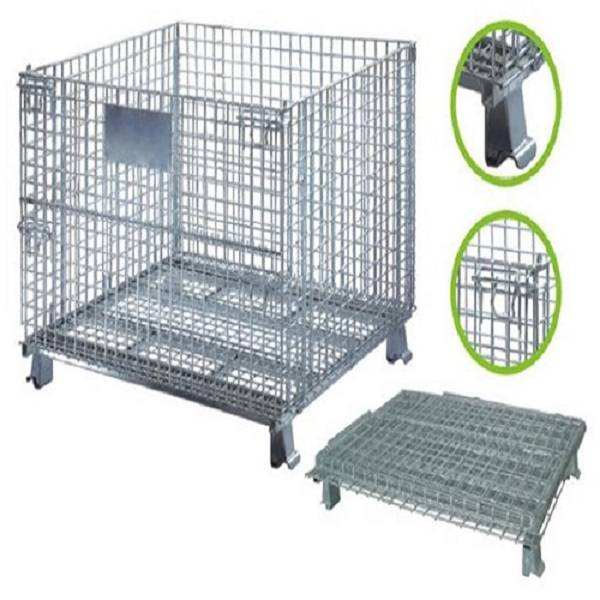 Foldable Storage Units Metal Baskets Wire Mesh Container Cage