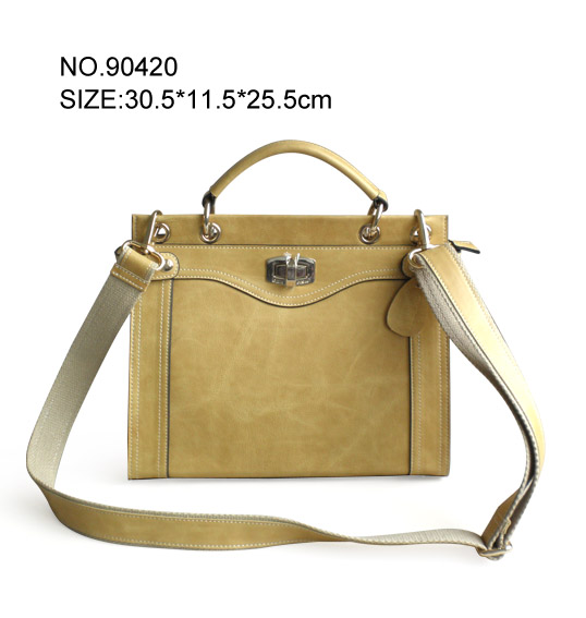 new design trendy Genuine leather handbags made in china