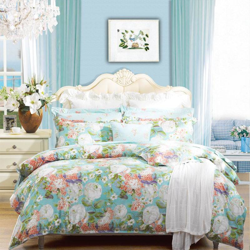 Fuanna Morning Garden 3 Pieces Set Cotton Printed Queen Duvet Cover and Pillow Shams