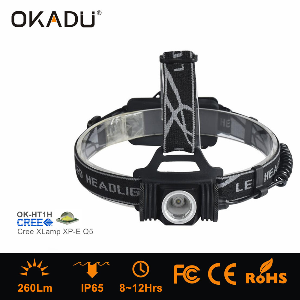 OKADU HT1H Adjustable Cree XM-L2 T6 Head Light USB 1200Lm Led Headlamp with Red Warning Light