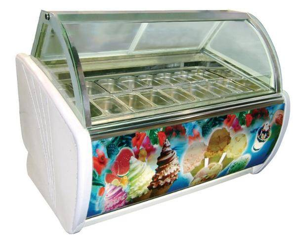 Ice Cream Display Freezer 1/4 Pans Ice Cream Showcase Cabinet