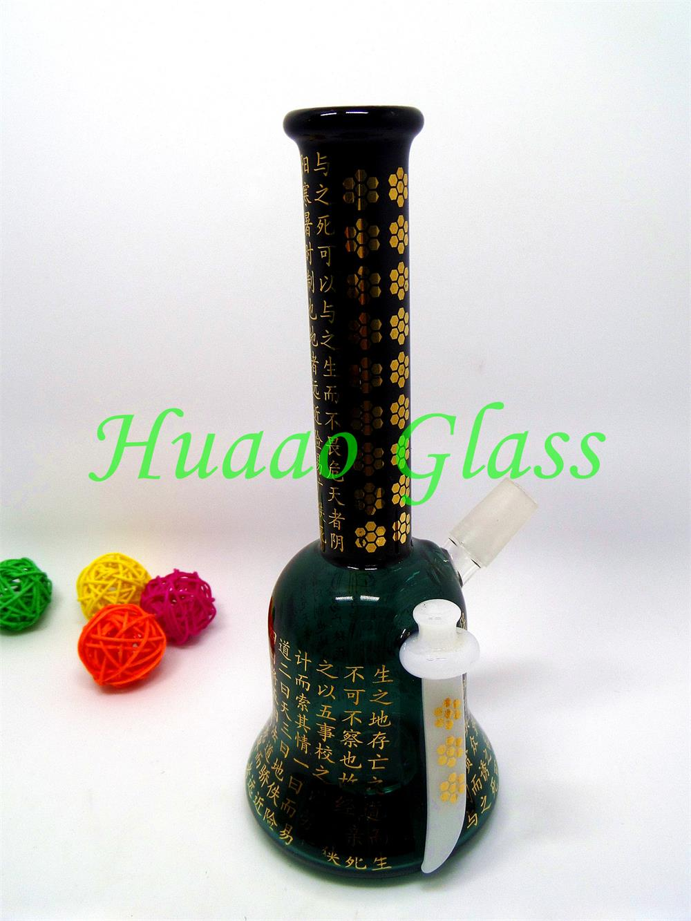 7.6 inches High quality borosilicate glass Printing Thickness: 5mm Blackish green glass water pipe