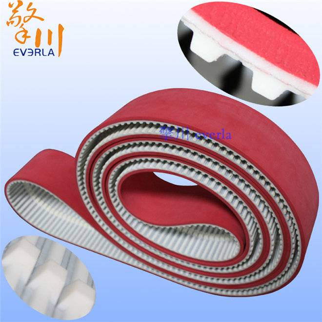 PU Synchronous Belt on The Surface of Red Rubber with Tooth Profile Rails