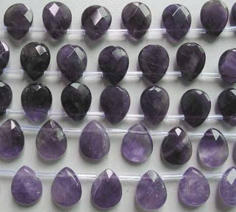 natual gemstone amethyst faceted teardrop beads