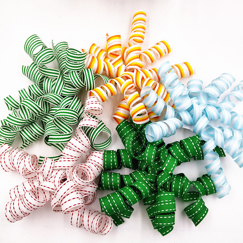 Satin and grosgrain ribobn curly bow birthday party and gifts decoration bows