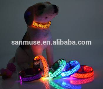 2016 hot sale Leopard Print Glowing LED Dog Collars, Flashing Dog Collars, Led Dog Leashes Manufactu