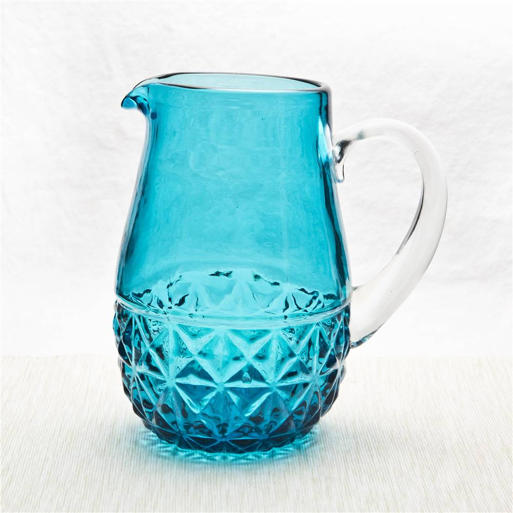 Colored blue glass water pitcher decorative handmade decorative water pitcher with clear handle