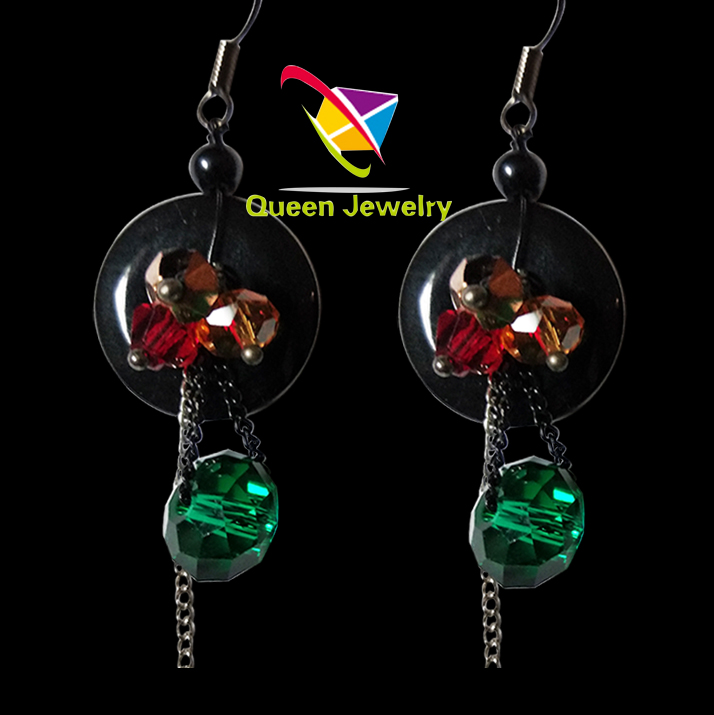 julio jones earring Popular button with shiny crystal jewelry earring