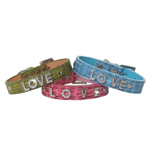 Crocodile Style Leather Dog Collar with Crystal Alphabets