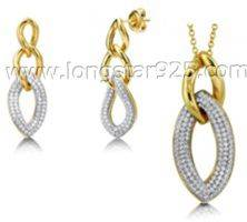 Gold Plated Micro Pave Cubic Zirconia Fine Silver Jewelry Sets