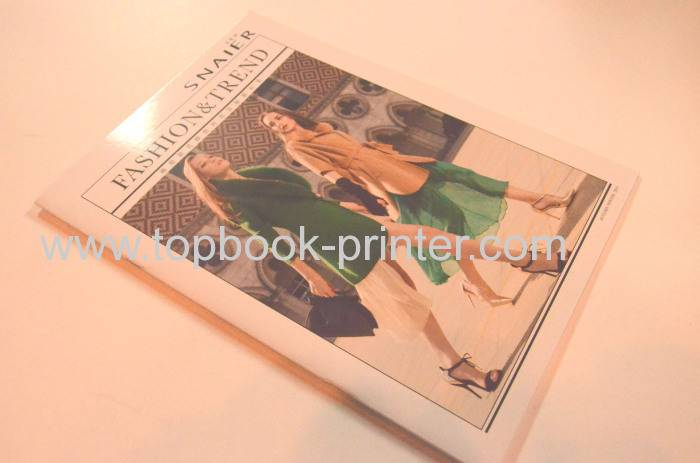 Gloss laminated high-gloss art paper cover saddle stitching softback clothing magazine printing on d