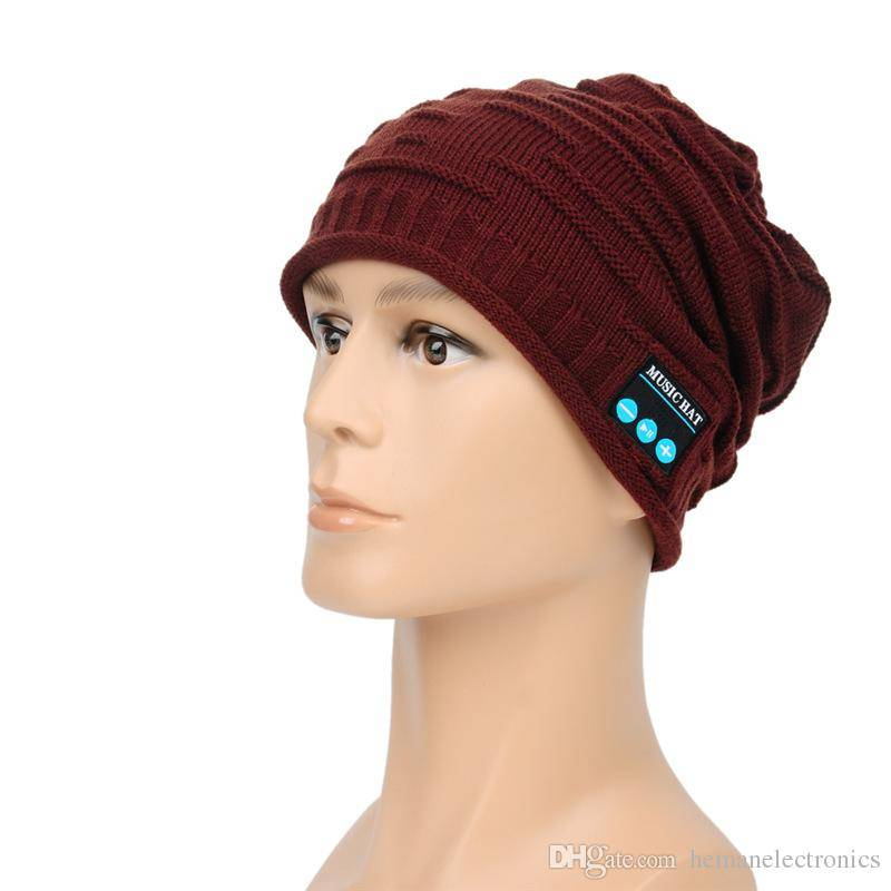 Bluetooth Headsets Warm Knitting Wool Hat with Stereo Headphone Wireless Hands-free 4 Colors Headpho