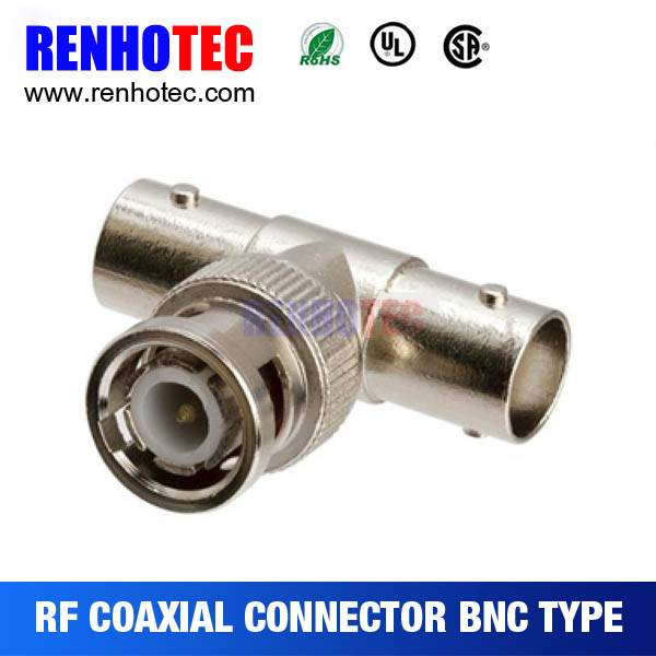 Shenzhen factory supply BNC plug to 2 bnc female connectors adapter
