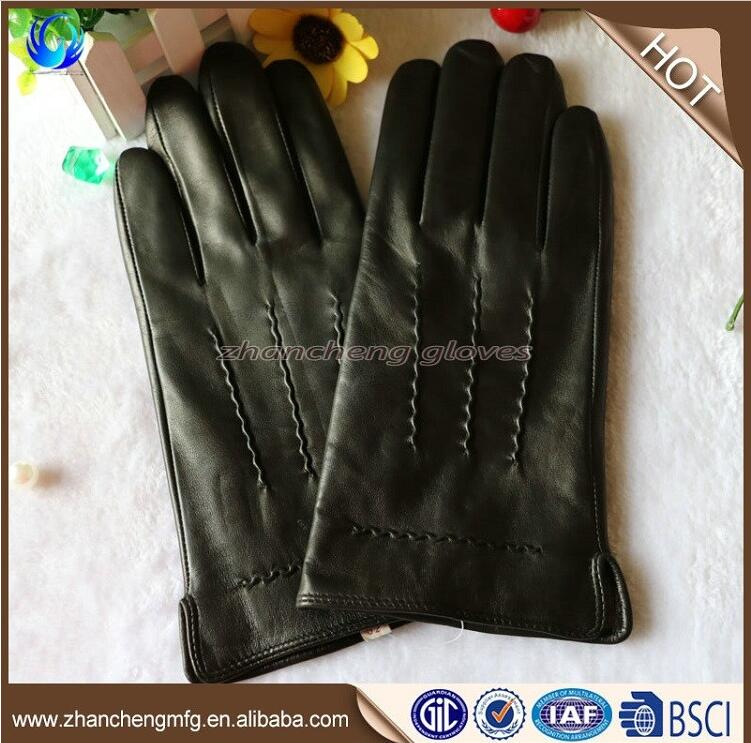 Plain style man winter sheepskin leather gloves for touch screen with high quality