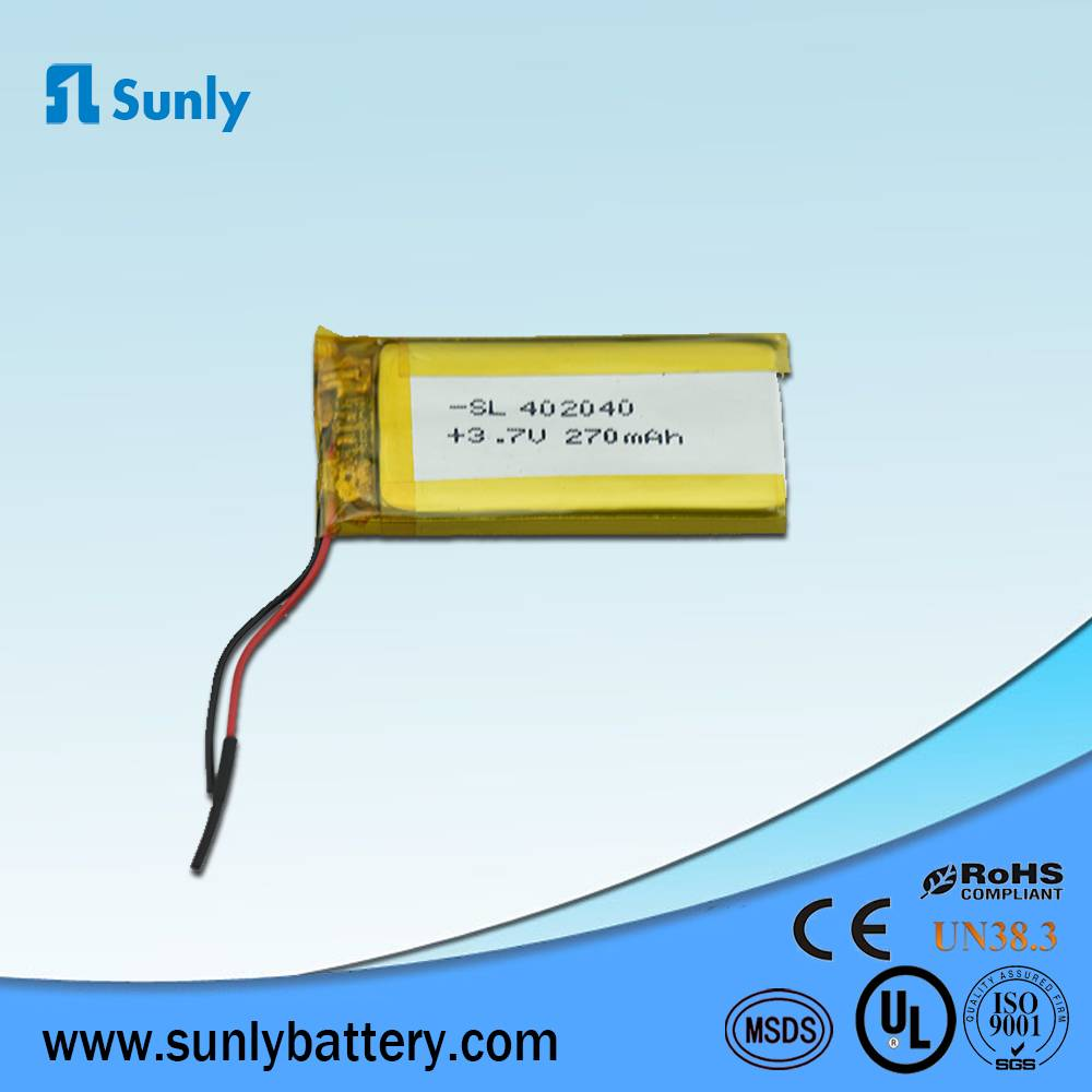 Model 402040 lipo battery 3.7V 200mAh li ion battery pack for bluetooth headset