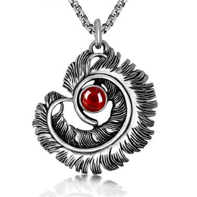 316Lstainless steel feather pendant for men with stone charms