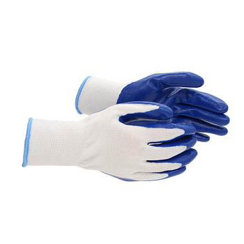 Blue nitrile coated gloves with high quality low price