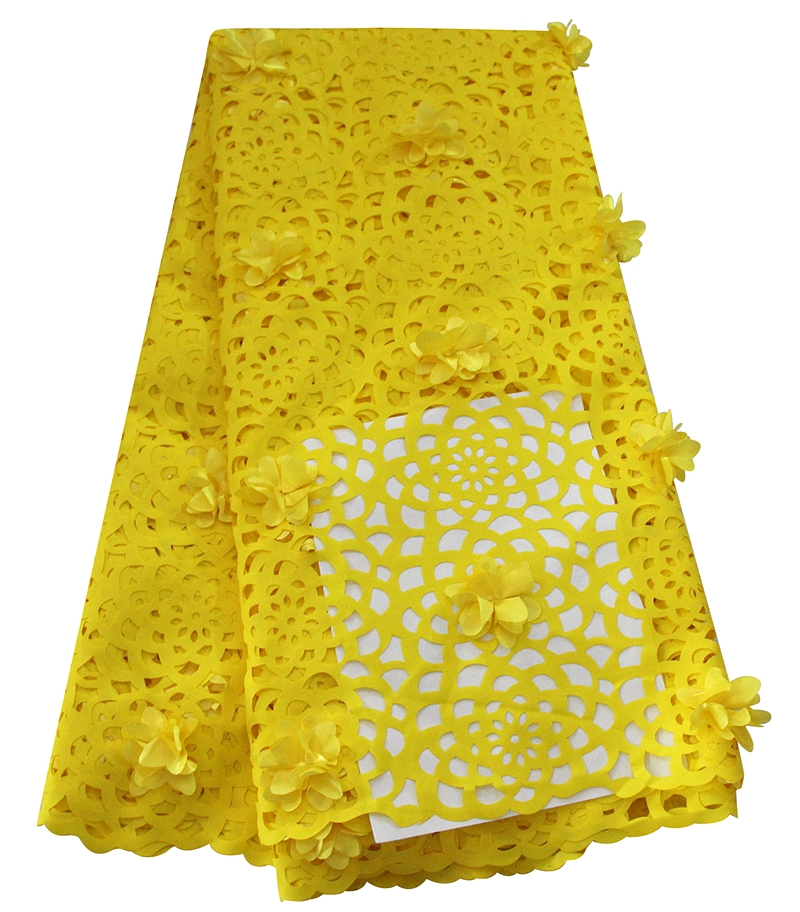 Wholesale high quality unique yellow african laser cut lace fabric with 3D flower lace