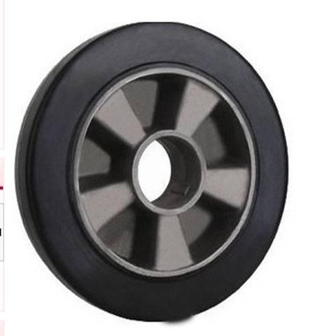 Medium Duty 350kg Plate Swivel Alumium Rim Elastic Rubber  Wheel