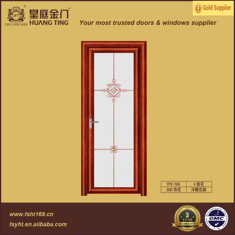 Aluminum alloy frame double tempered glass interior swing door