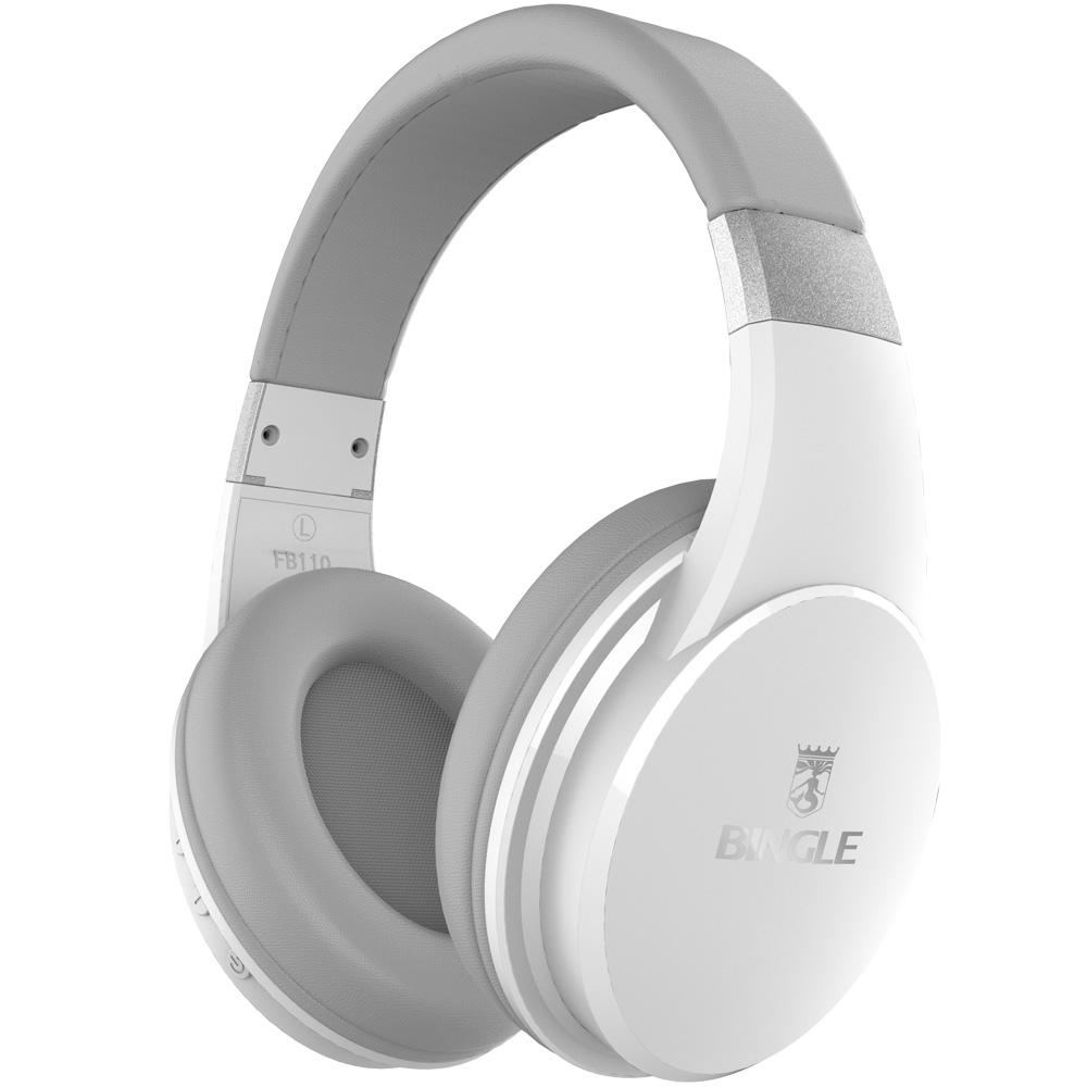 Bingle Fb110 White Retractable Deep Bass Sound Over Ear Wireless Bluetooth Headsets