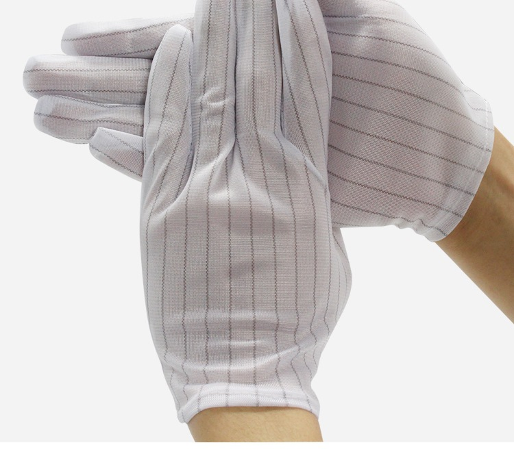 white color Antistatic gloves ESD stripe cleanroom gloves