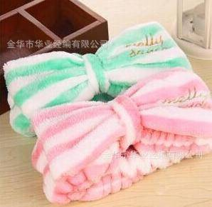 Korean lovely pricess dot bow coral fleece velvet  headband  hairband for make up and face care