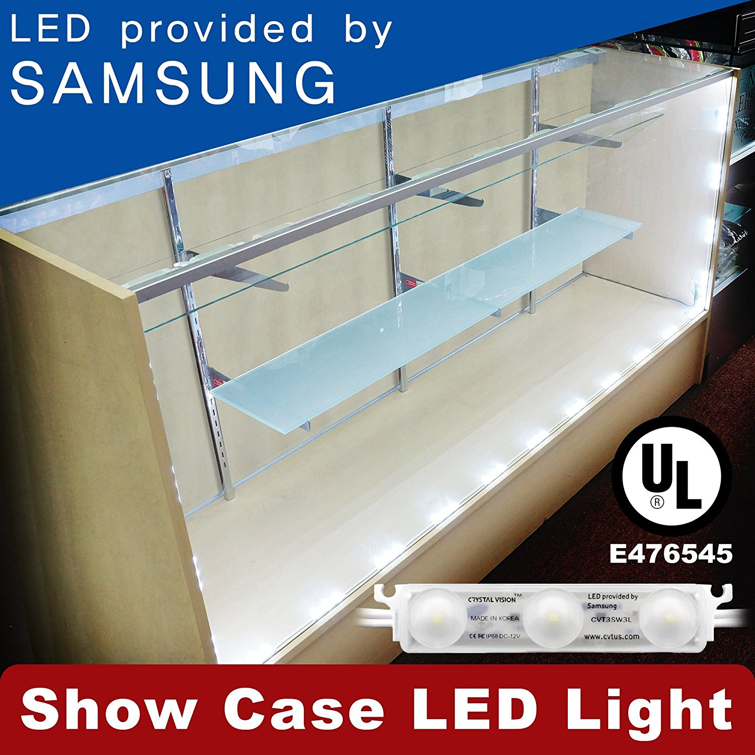 Crystal Vision Premium Samsung Pre-Installed LED Kit for Showcase, Display Case,