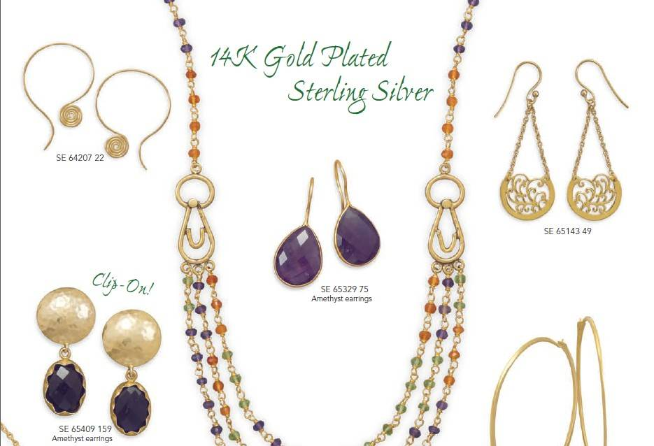14K gold plated silver jewelry ,necklace ,earrings