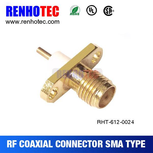 Flange SMA female connector panel with 2 holes and nuts